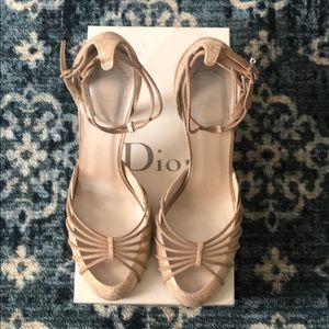 Dior Tan Evening Suede and Embossed Leather Pumps